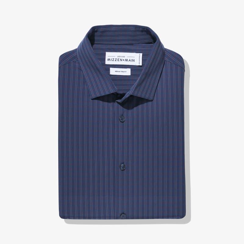 Leeward Dress Shirt - Navy Red MediumCheck, featured product shot