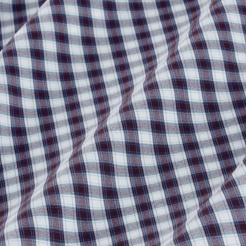 Leeward Dress Shirt - Purple Green Check, fabric swatch closeup