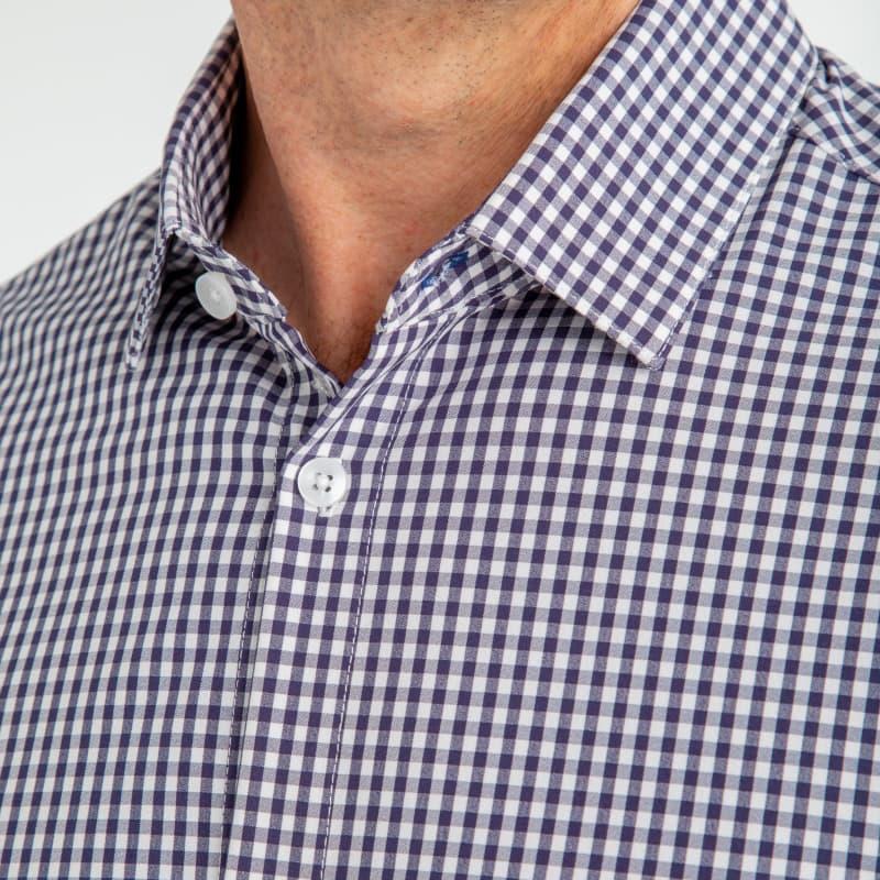 Leeward Dress Shirt - Navy White MiniGingham, lifestyle/model