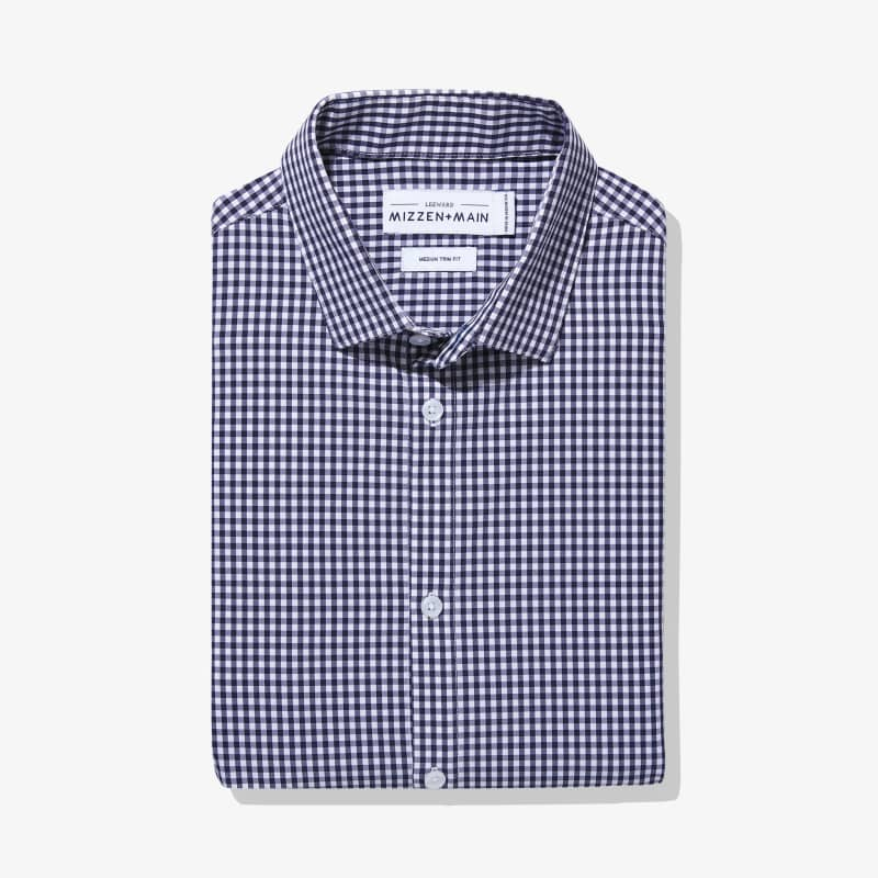 Leeward Dress Shirt - Navy White MiniGingham, featured product shot