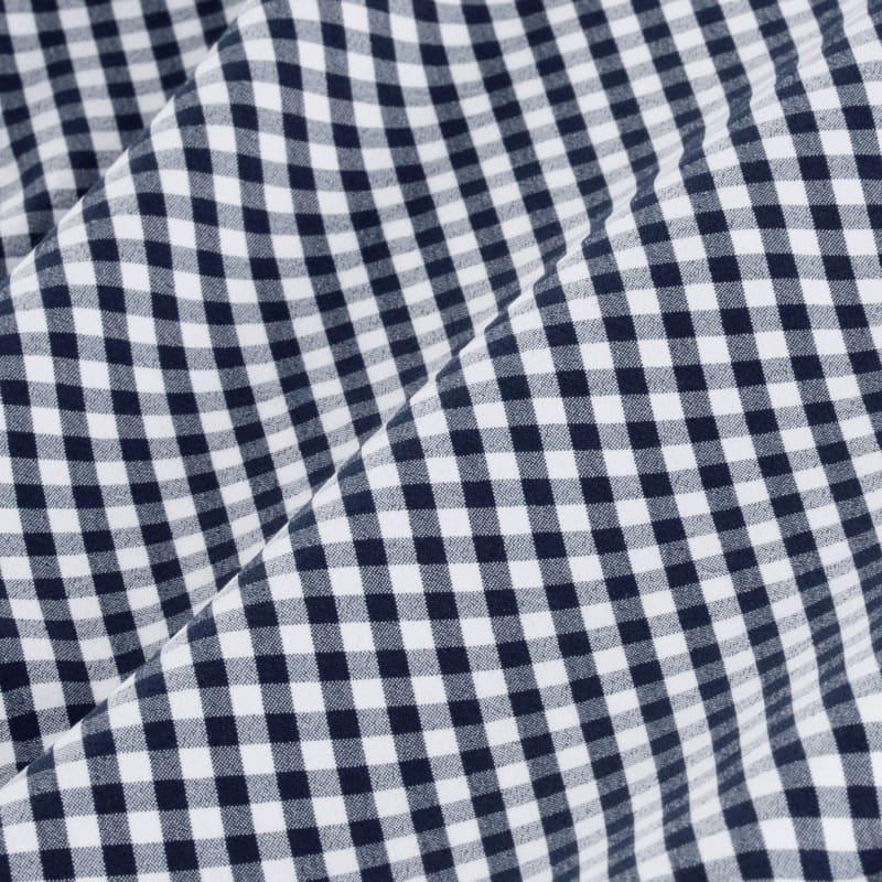 Leeward Dress Shirt - Navy White MiniGingham, fabric swatch closeup