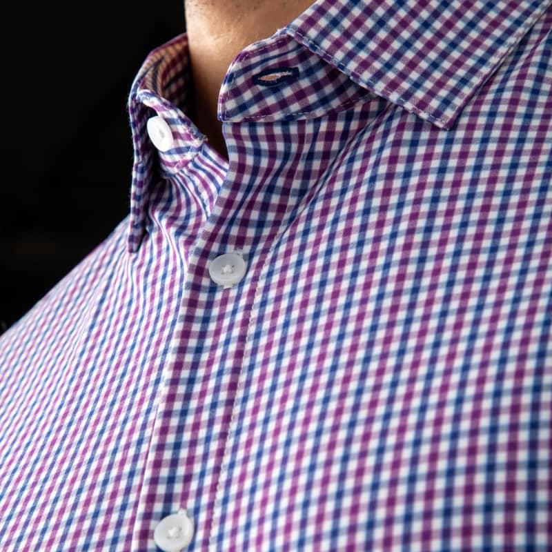 Leeward Dress Shirt - Purple Blue MultiCheck, lifestyle/model