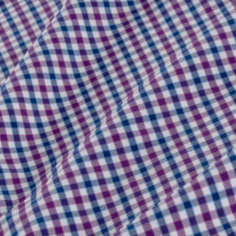 Leeward Dress Shirt - Purple Blue MultiCheck, fabric swatch closeup