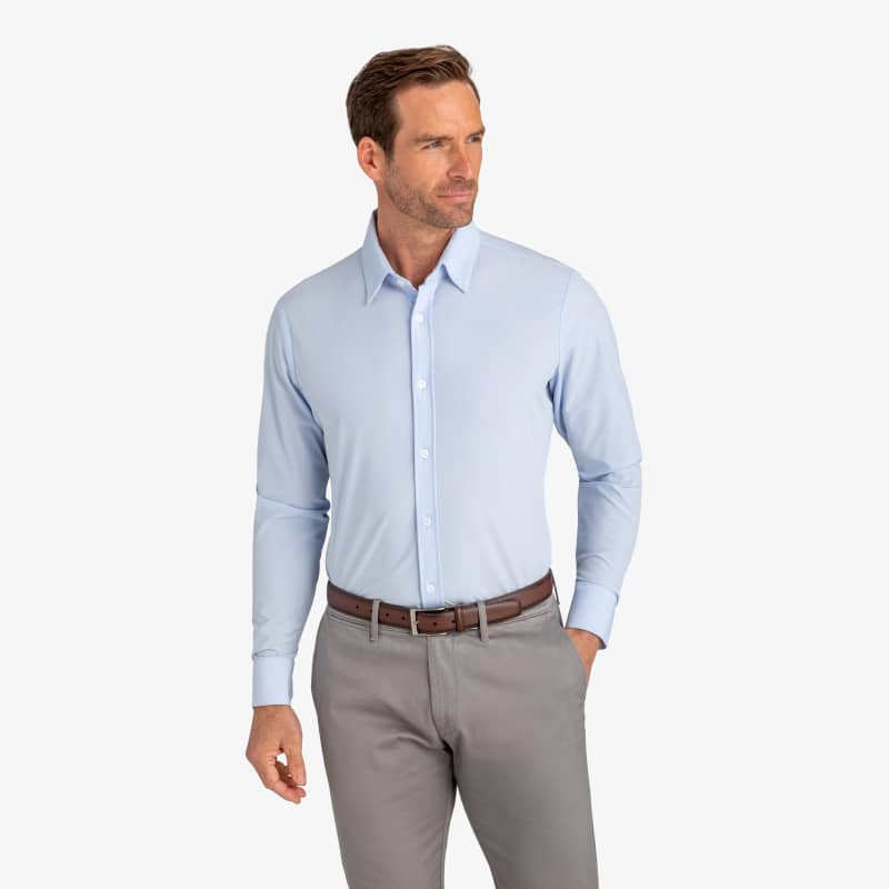 Leeward Formal Dress Shirt - Light Blue Solid, lifestyle/model