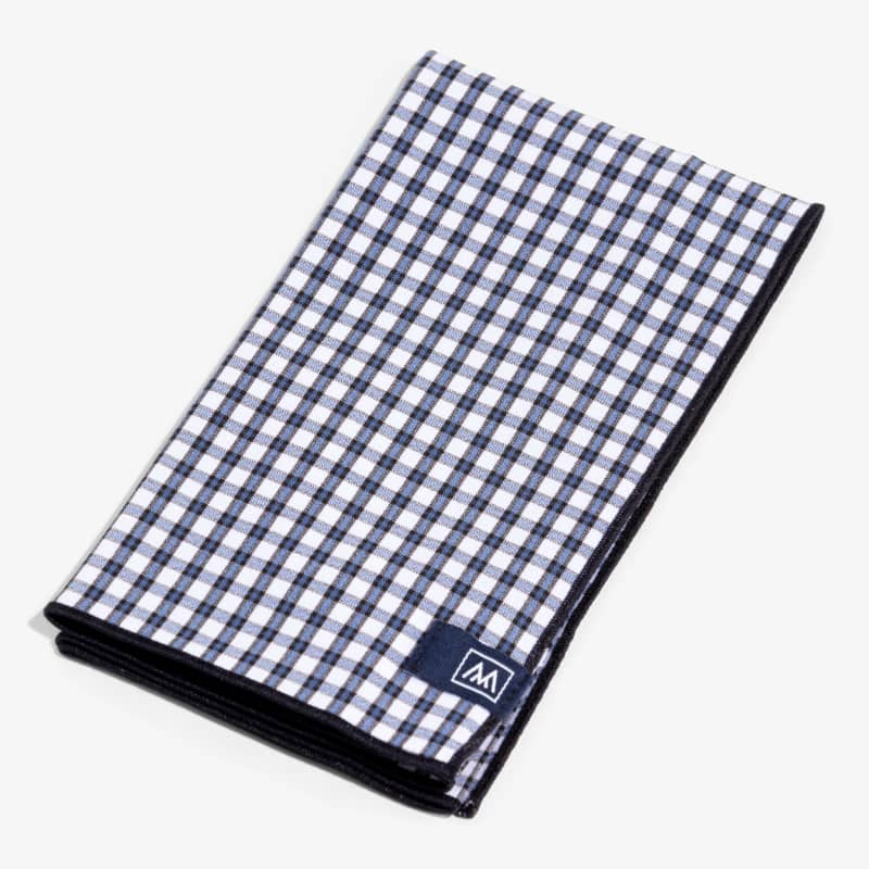 Pocket Square - Black/Blue Small Check, featured product shot