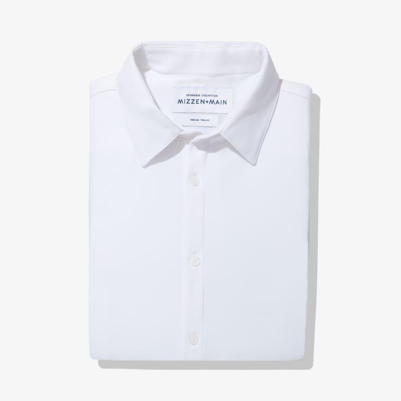 Spinnaker Dress Shirt - White Herringbone, featured product shot