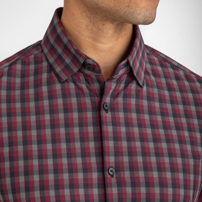 Leeward Dress Shirt - Maroon Gray Check, lifestyle/model