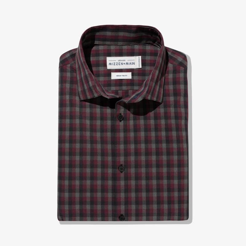 Leeward Dress Shirt - Maroon Gray Check, featured product shot