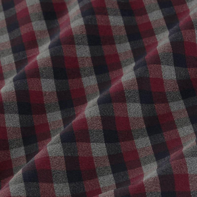 Leeward Dress Shirt - Maroon Gray Check, fabric swatch closeup