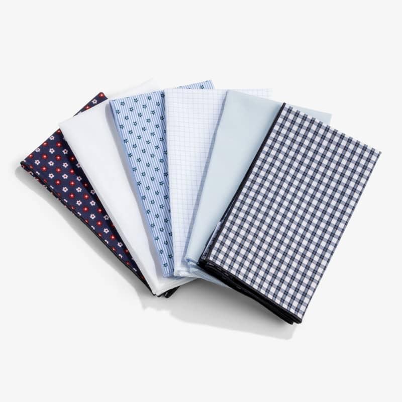 Pocket Square - Black/Blue Small Check, fabric swatch closeup