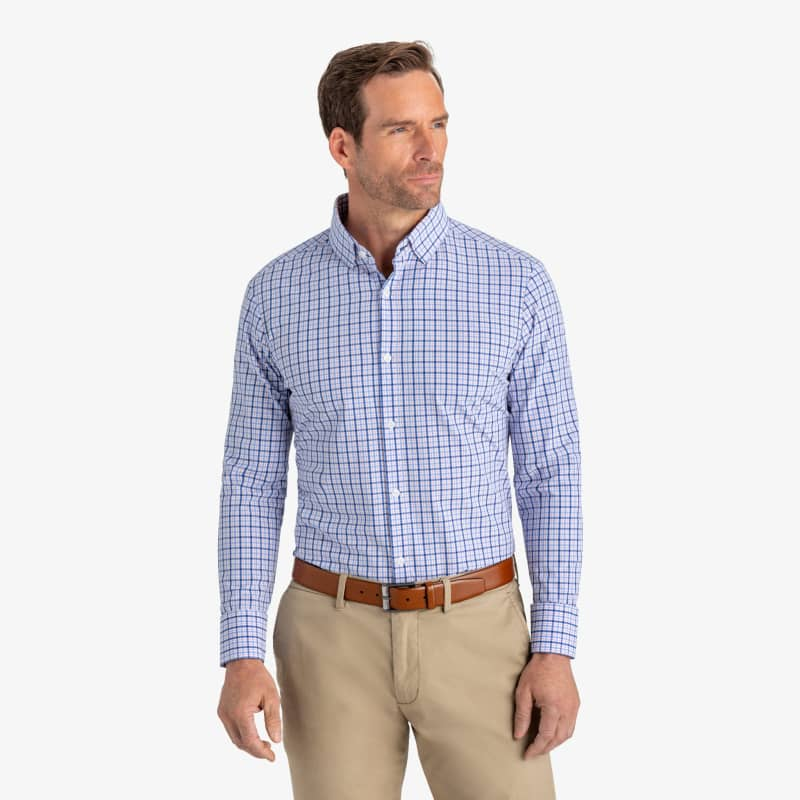 Leeward Dress Shirt - Blue Multi Plaid, lifestyle/model