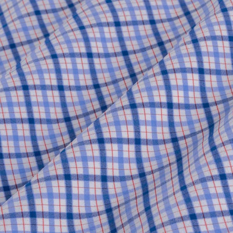 Leeward Dress Shirt - Blue Multi Plaid, fabric swatch closeup