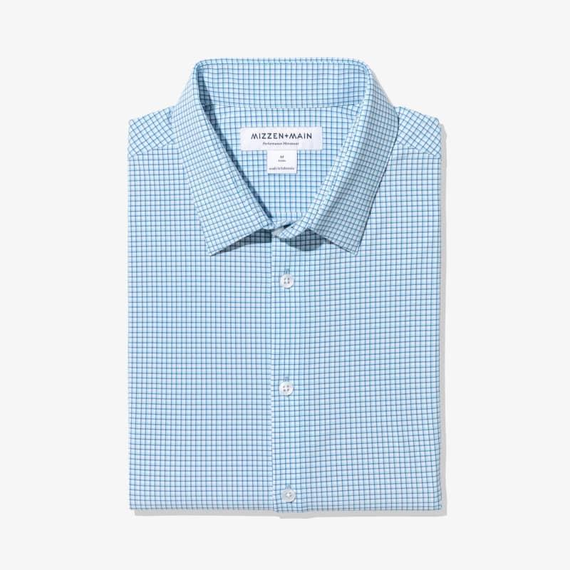 Leeward Dress Shirt - Blue Aqua Check, featured product shot