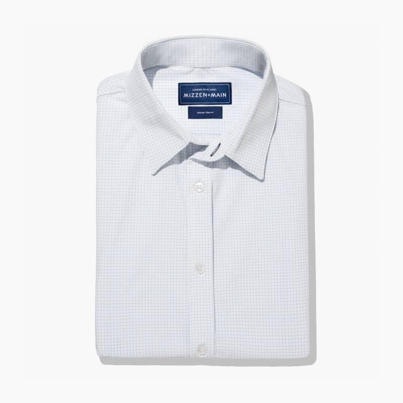 Leeward Formal Dress Shirt - Light Blue MiniCheck, featured product shot