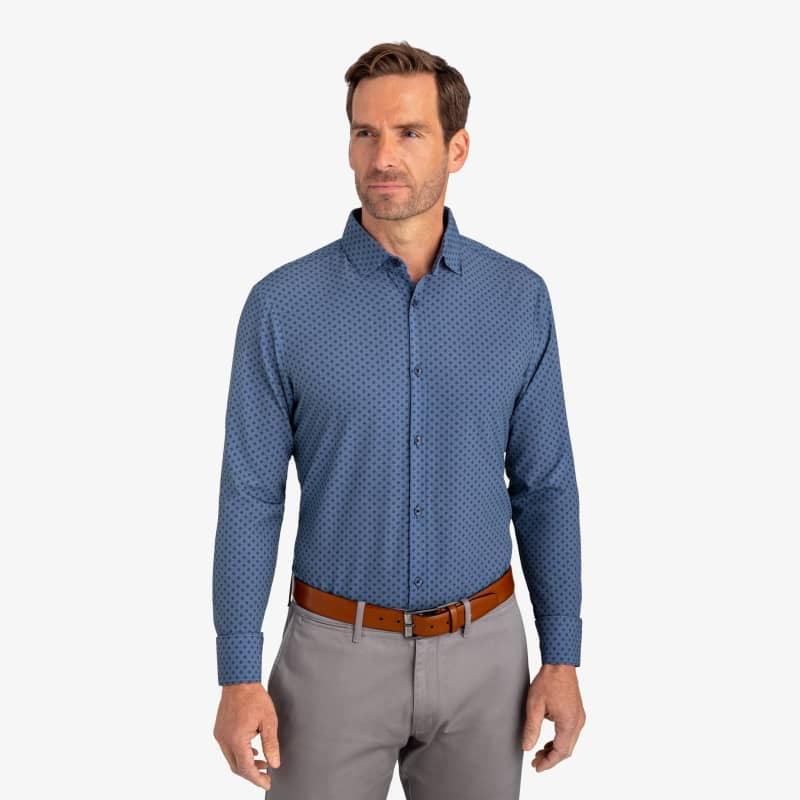 Leeward Dress Shirt - Navy Diamond Print, lifestyle/model
