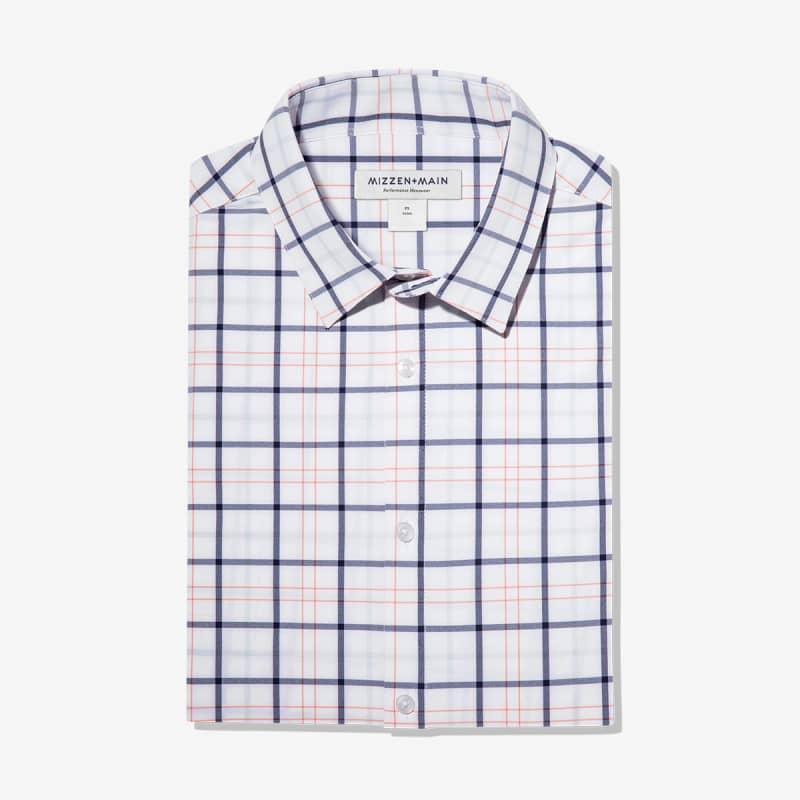 Leeward Dress Shirt - Navy Orange MultiCheck, featured product shot