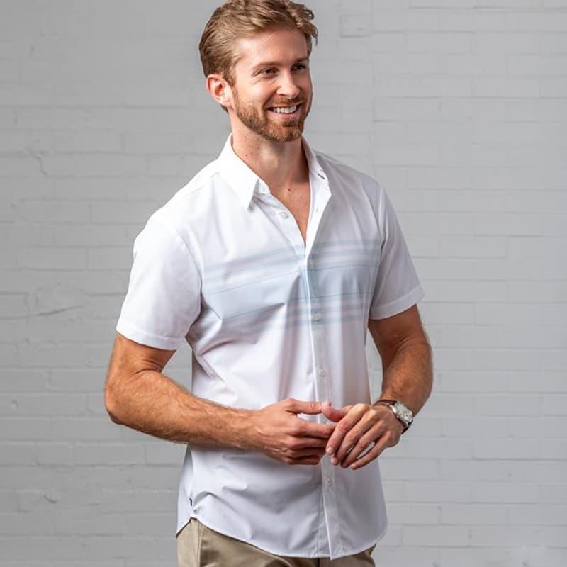 Leeward Short Sleeve - White Horizontal Stripe, lifestyle/model