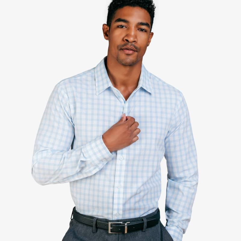 Leeward Formal Dress Shirt - Blue and WhiteWindowpane, lifestyle/model