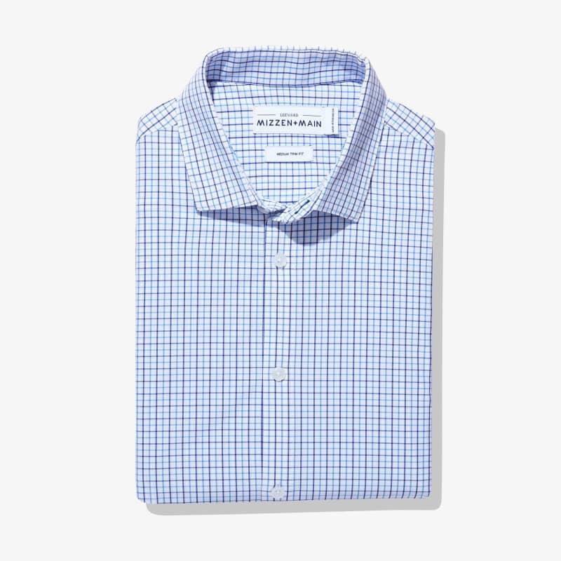 Leeward Dress Shirt - Light Blue NavyTattersall, featured product shot