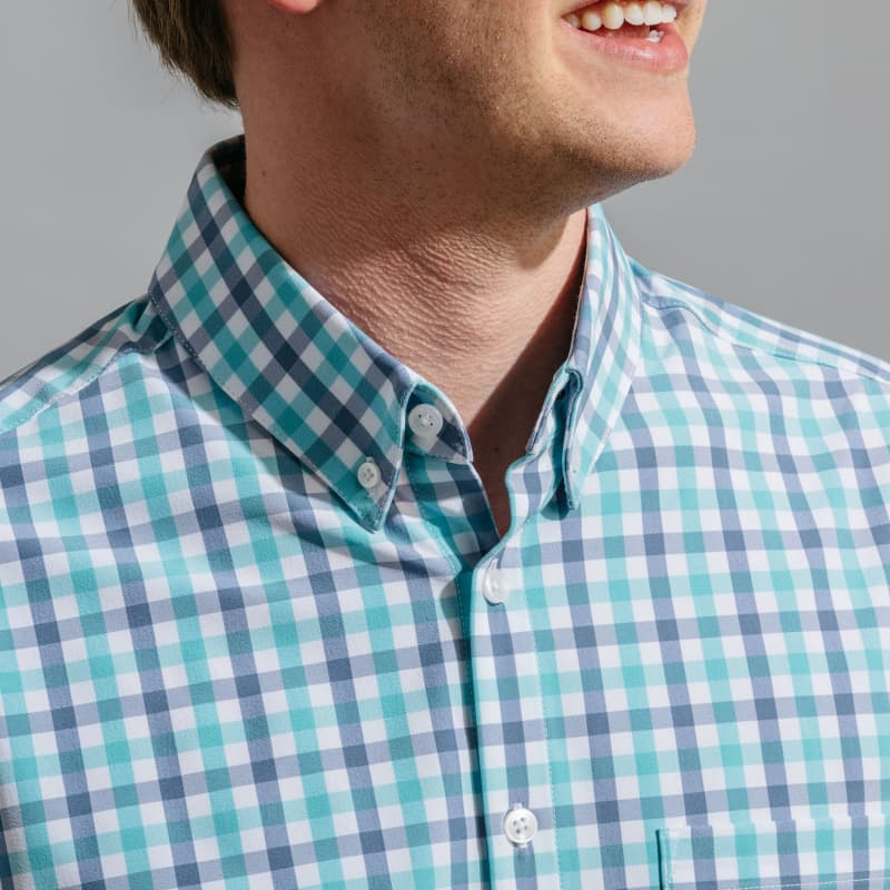 Leeward Short Sleeve - Green Stripe, lifestyle/model