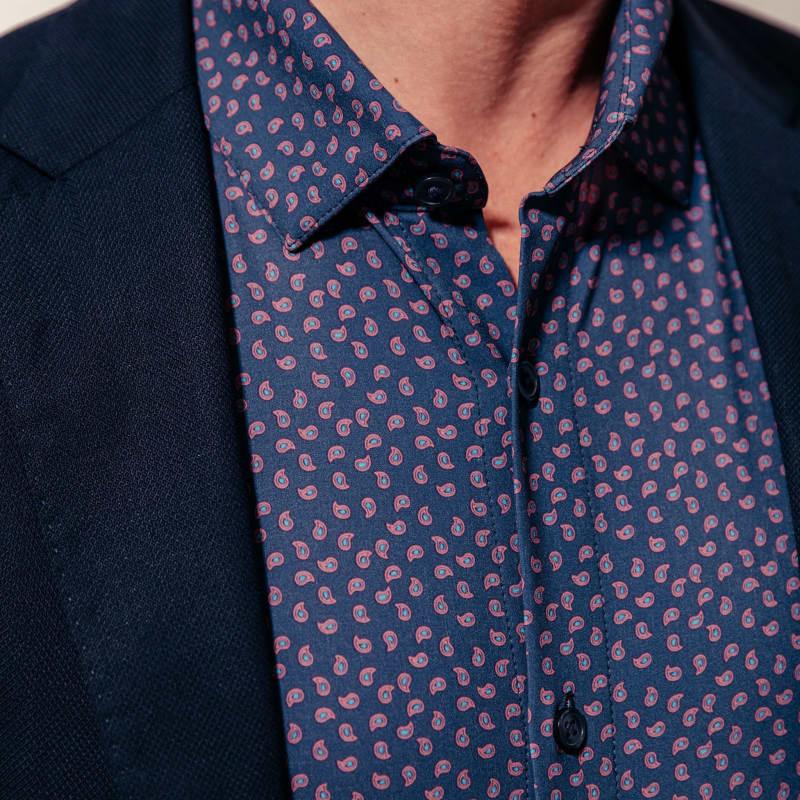 Leeward Dress Shirt - Navy Paisley Print, lifestyle/model