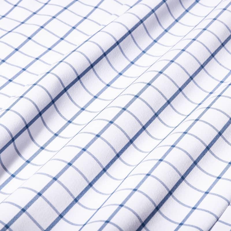 Leeward Casual Dress Shirt - Dark Blue Windowpane, fabric swatch closeup