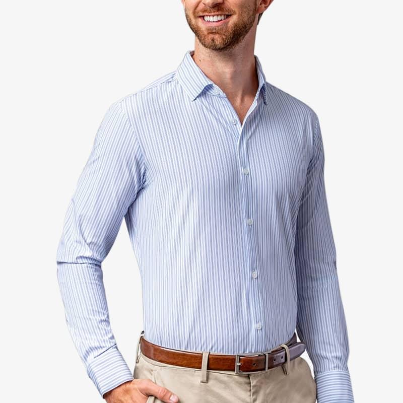 Leeward Dress Shirt - Blue Stripe, lifestyle/model