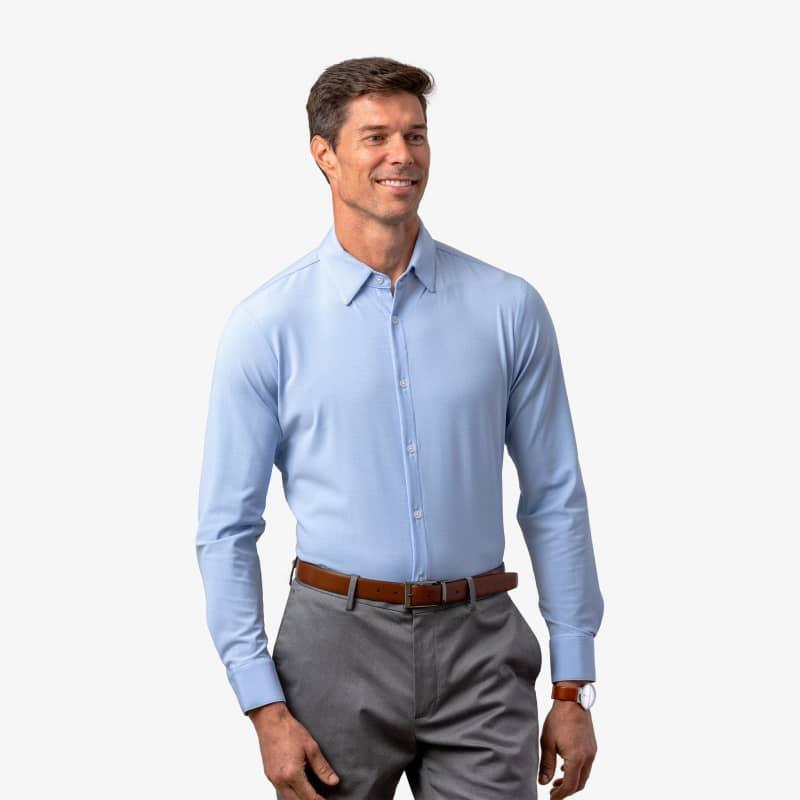 Leeward Textured Dress Shirt - Light Blue GlenPlaid, lifestyle/model