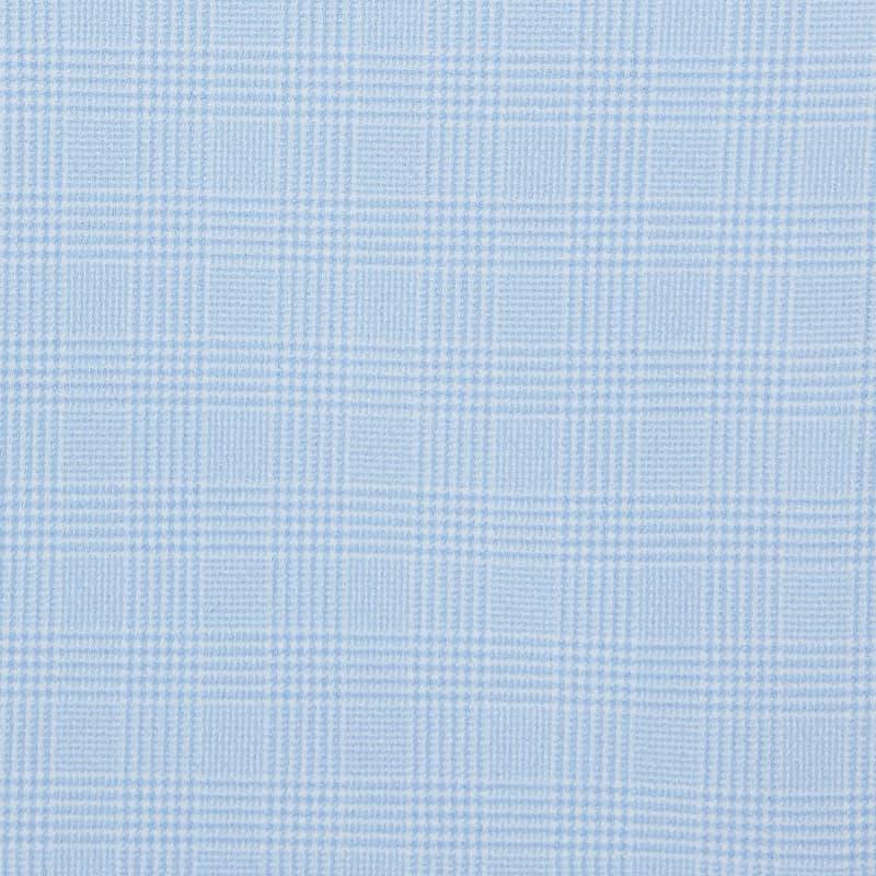Leeward Textured Dress Shirt - Light Blue GlenPlaid, fabric swatch closeup