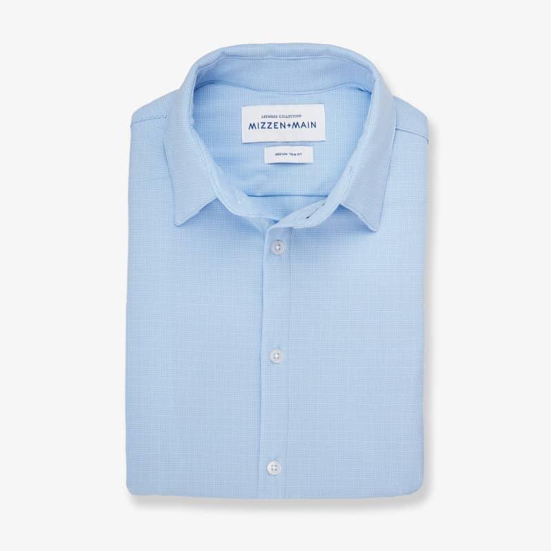Leeward Textured Dress Shirt - Light Blue GlenPlaid, featured product shot