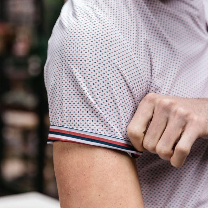 Leeward Short Sleeve - Red Navy Dot, lifestyle/model