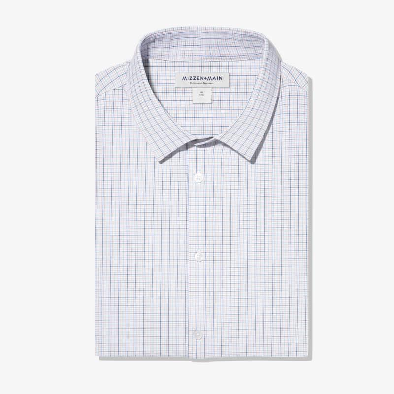 Leeward Dress Shirt - Orange Blue MultiCheck, featured product shot