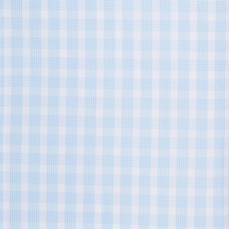 Leeward Dress Shirt - Light Blue Check, fabric swatch closeup