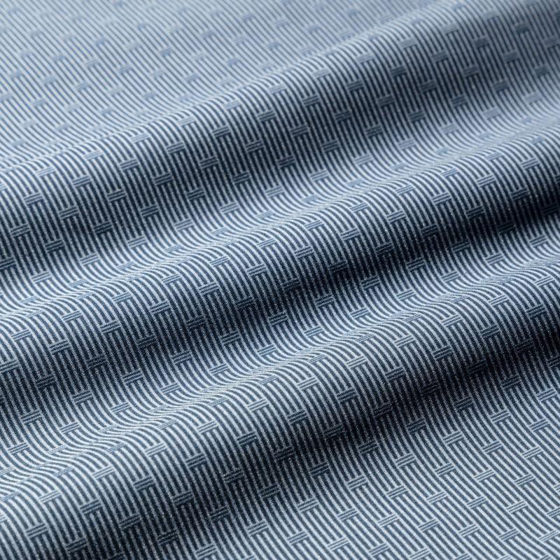 Leeward Boxer - Navy Gray GeoStripe, fabric swatch closeup
