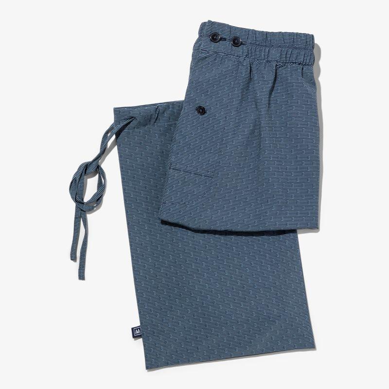 Leeward Boxer - Navy Gray GeoStripe, lifestyle/model