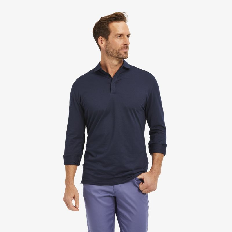Wilson Long Sleeve Polo - Navy Solid, lifestyle/model