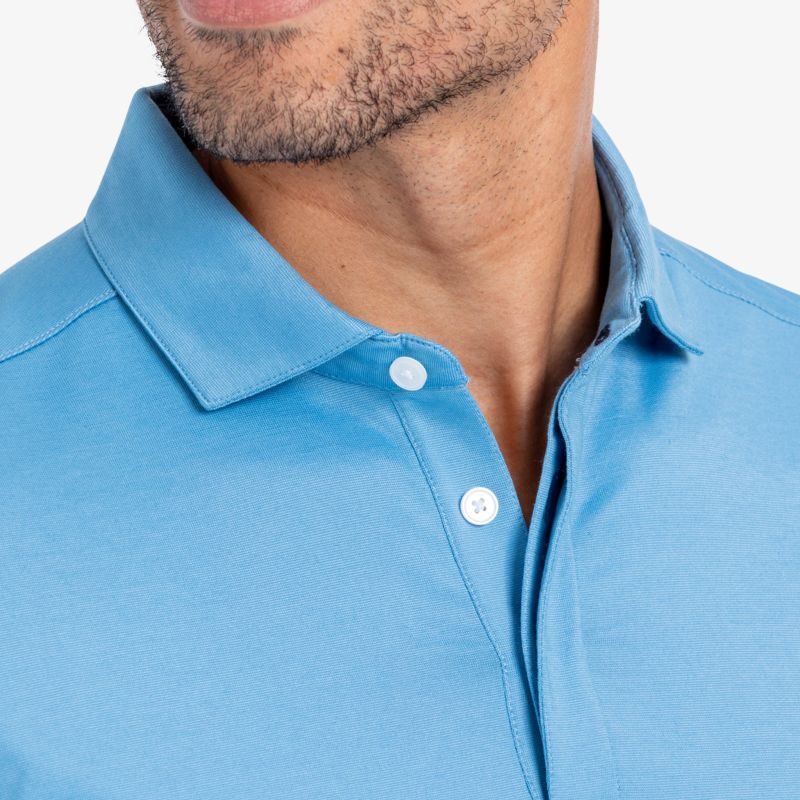 Wilson Long Sleeve Polo - Light Blue Solid, lifestyle/model