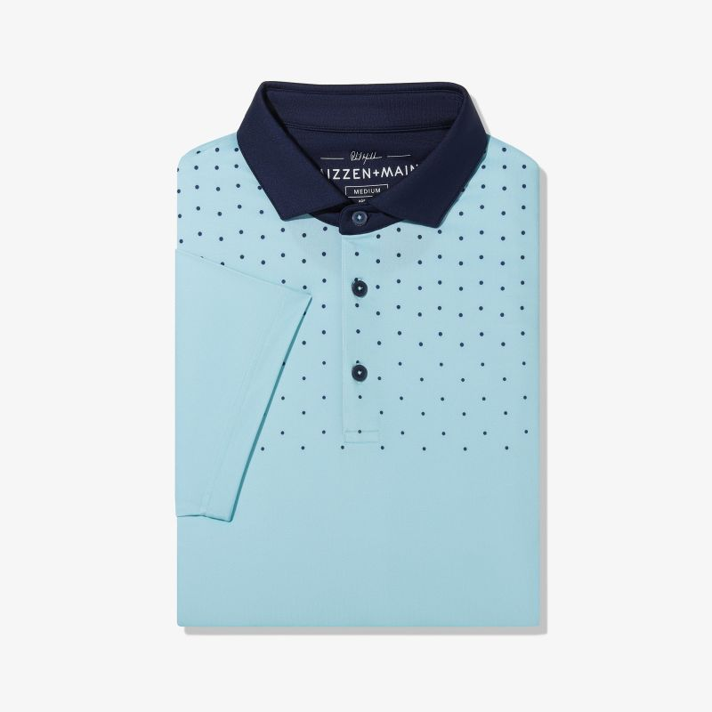 Phil Mickelson Polo - Aqua And Navy DotPrint, featured product shot