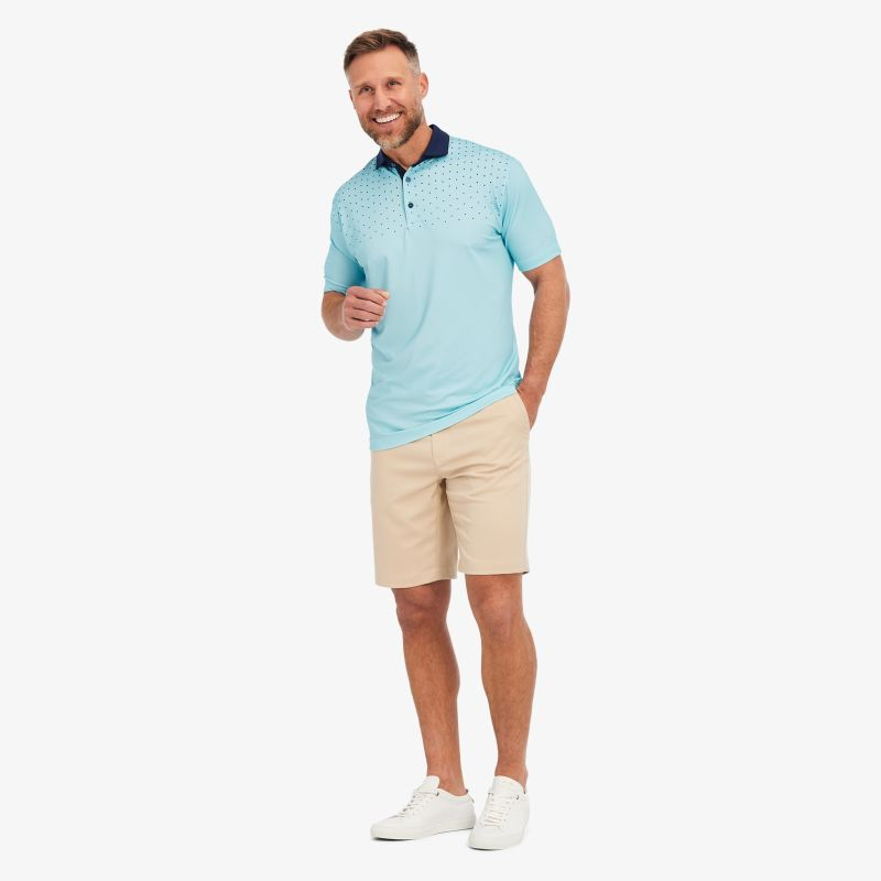 Phil Mickelson Polo - Aqua And Navy DotPrint, lifestyle/model