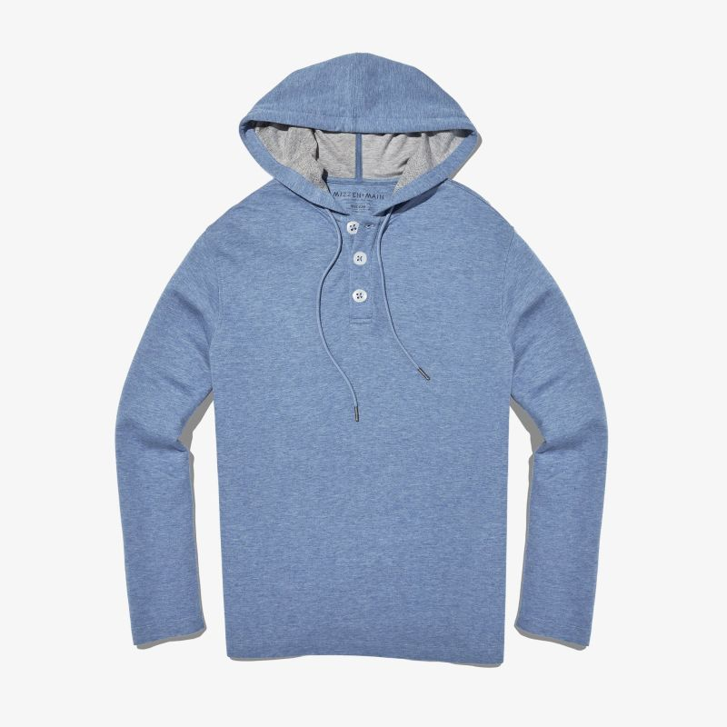Fairway Hooded Henley - Light Blue Heather, featured product shot
