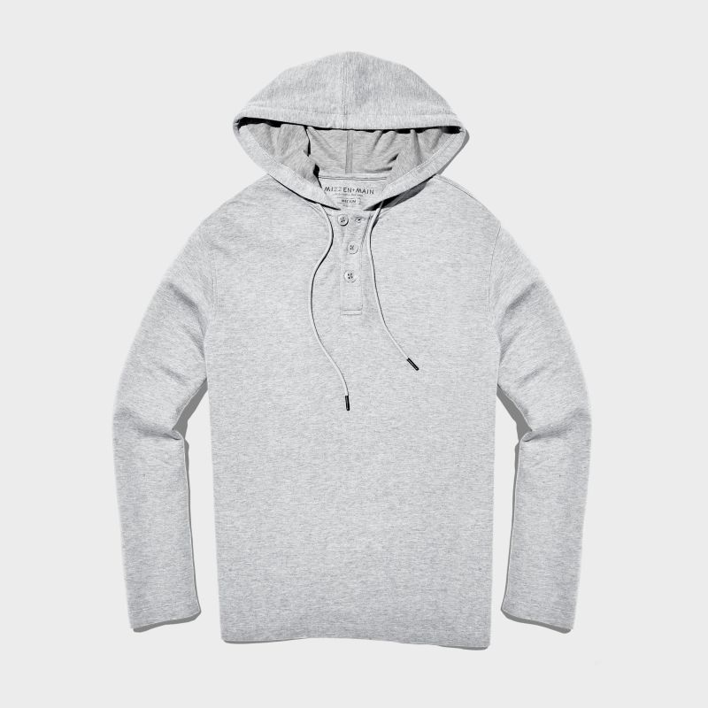 Fairway Hooded Henley - Light Gray Heather, featured product shot