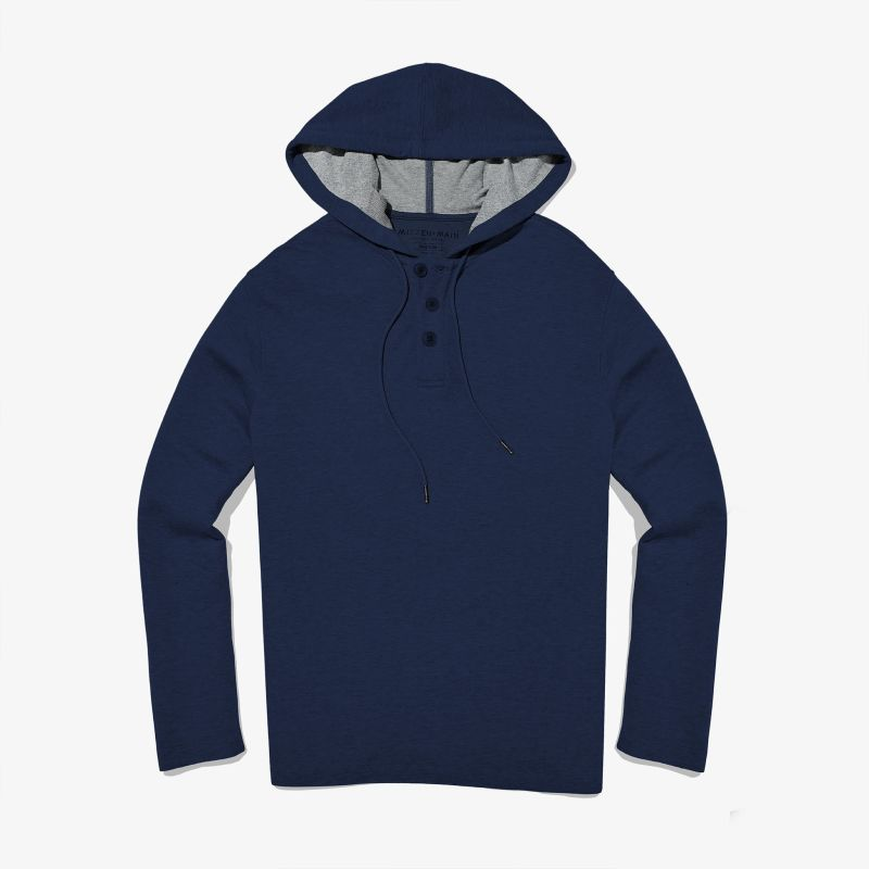 Fairway Hooded Henley - Navy Heather, featured product shot
