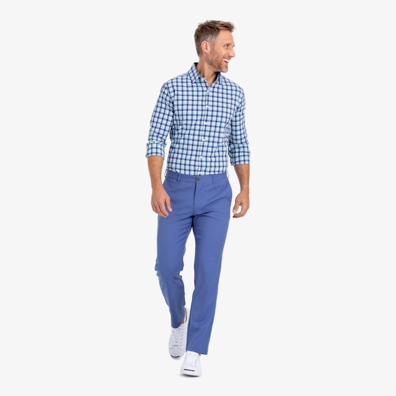 Leeward Dress Shirt - Cobalt Blue And Pink MultiCheck, lifestyle/model