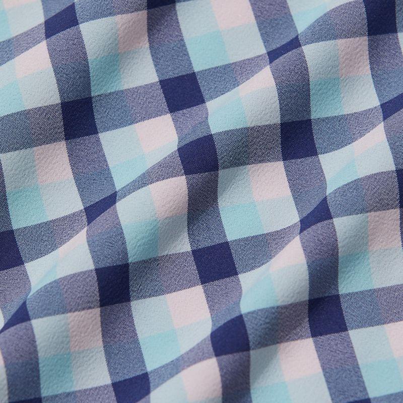 Leeward Dress Shirt - Cobalt Blue And Pink MultiCheck, fabric swatch closeup