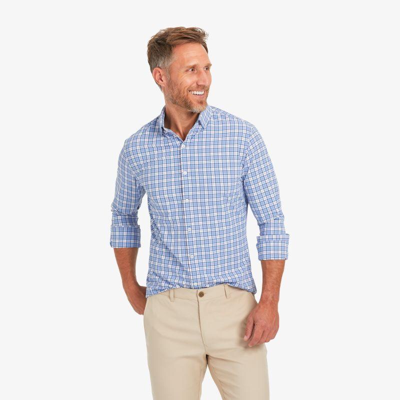 Lightweight Leeward Dress Shirt - Navy And Bel Air Blue MultiPlaid, lifestyle/model