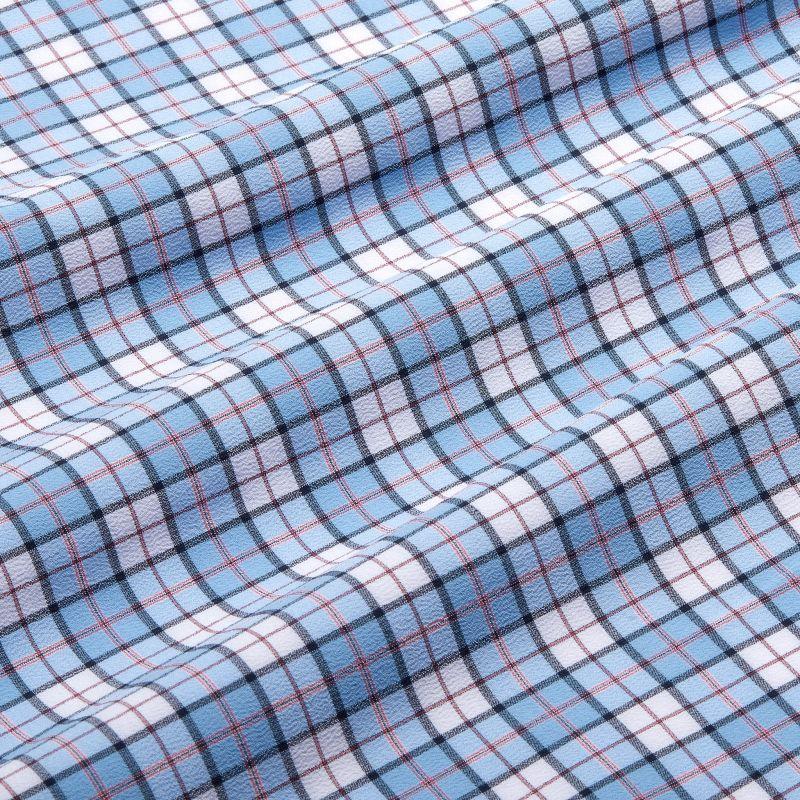 Lightweight Leeward Dress Shirt - Navy And Bel Air Blue MultiPlaid, fabric swatch closeup