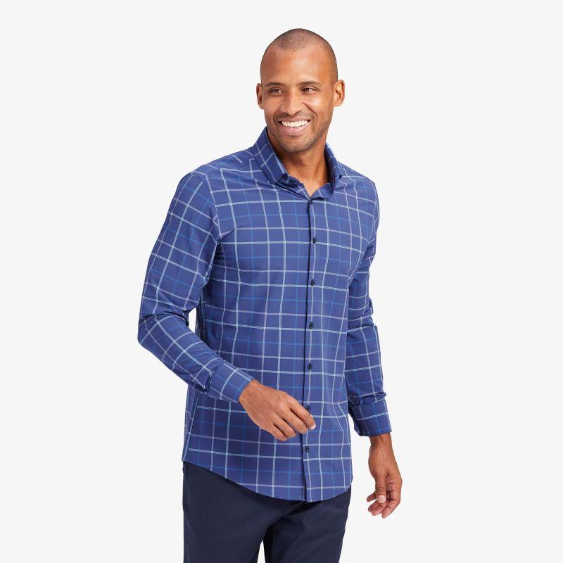 Lightweight Leeward Dress Shirt - Navy And Aqua MultiPlaid, lifestyle/model