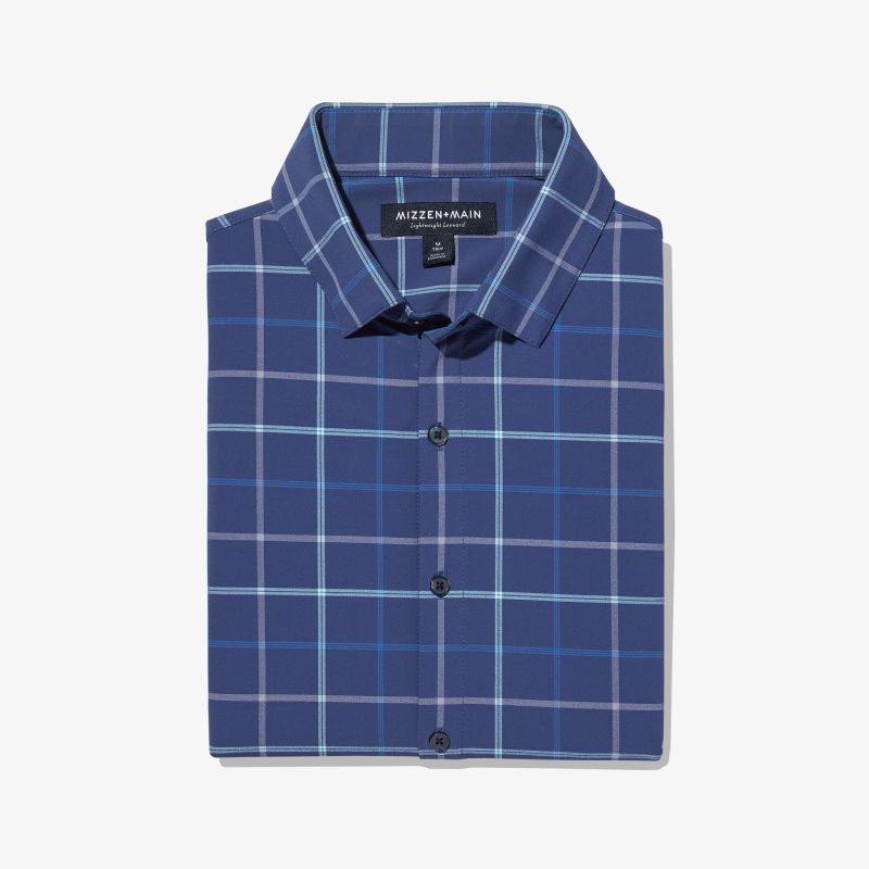 Lightweight Leeward Dress Shirt - Navy And Aqua MultiPlaid, featured product shot