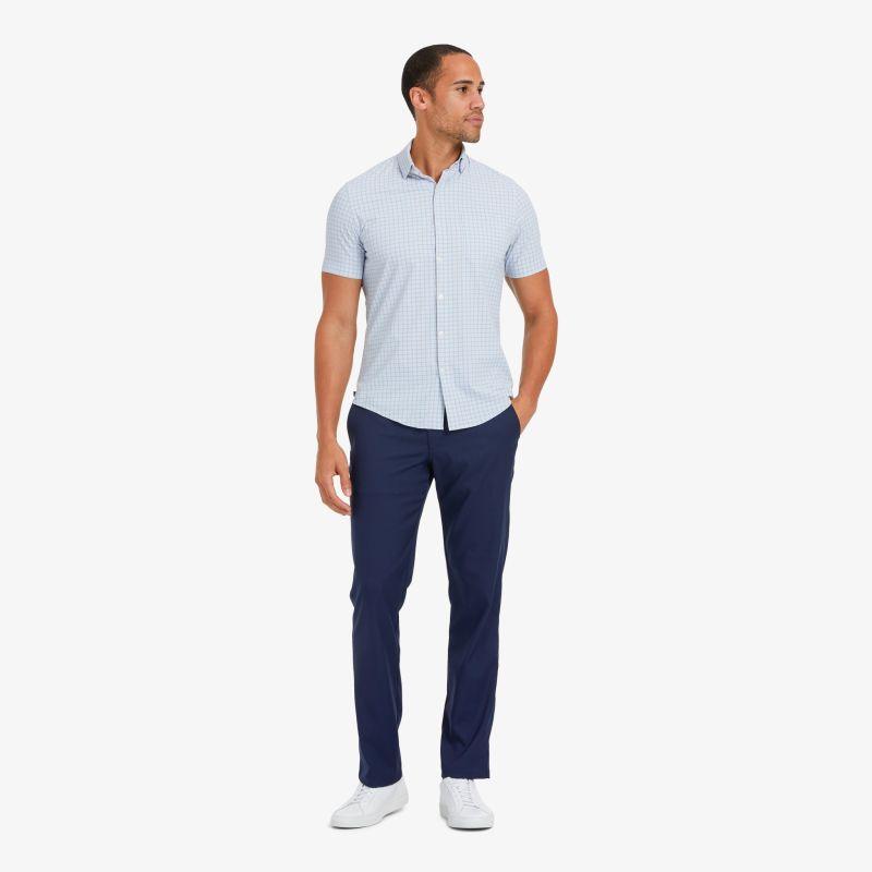Lightweight Leeward Short Sleeve - Navy Red MiniCheck, lifestyle/model