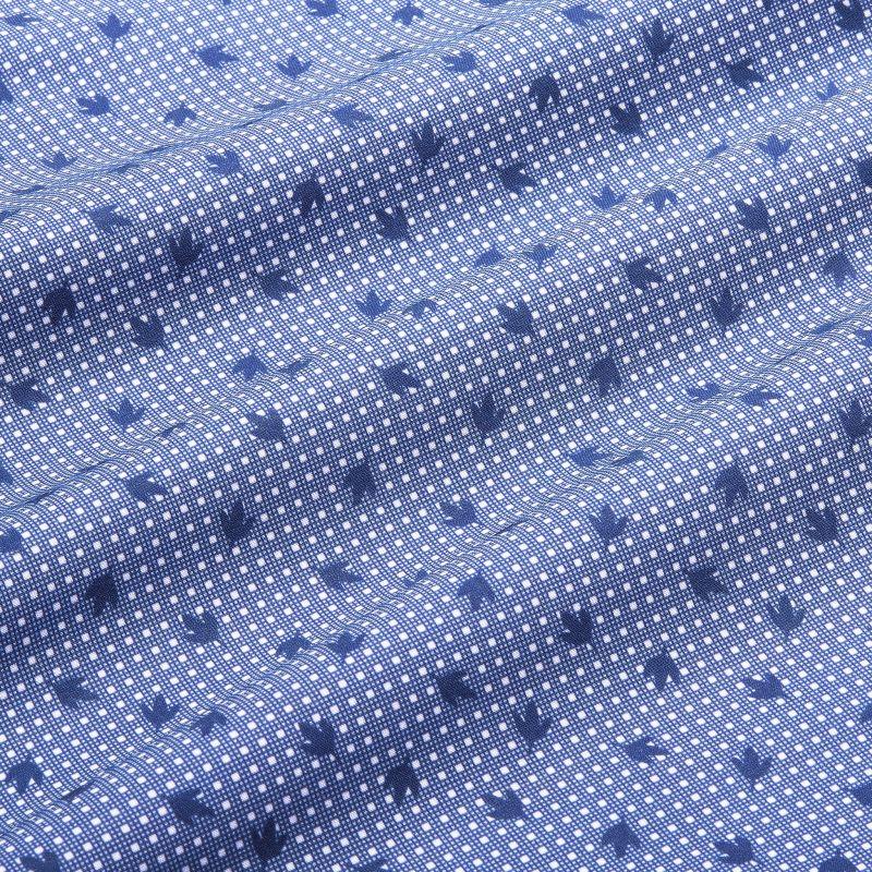 Leeward Short Sleeve - Navy Leaf DotPrint, fabric swatch closeup